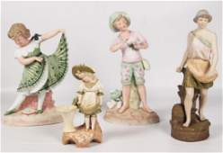 4 PIECE LOT OF VIENNA AND BISQUE PORCELAIN FIGURES
