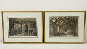 GROUP OF 5 FRAMED HAND COLORED ENGLISH PRINTS