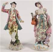 PAIR OF ENGLISH CHELSEA PORCELAIN FIGURES