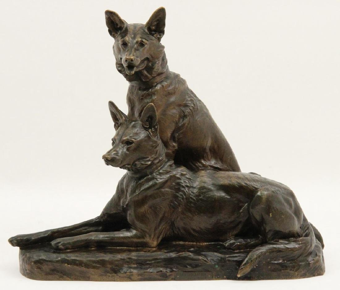 L. RICHE, FRENCH ANIMALIER BRONZE OF TWO DOGS