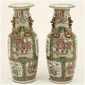 PAIR OF 25 19TH C CHINESE ROSE MEDALLION VASES