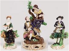 3 PIECE LOT OF FRENCH AND ENGLISH PORCELAIN FIGURINES
