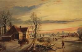 J. BARKER, OIL ON CANVAS WINTER SCENE PAINTING