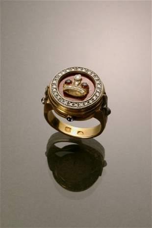 Russian Style 14-Karat Yellow Gold, Silver, Diamond,