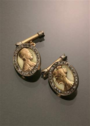Pair Russian Style 14-Karat Yellow Gold, Silver, Dia