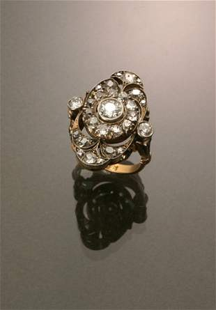 Russian Style 14-Karat Yellow Gold, Silver Diamond D