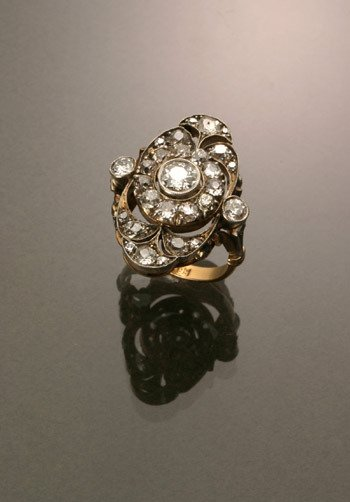 5: Russian Style 14-Karat Yellow Gold, Silver Diamond D