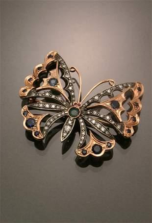 Russian Style 14-Karat Rose Gold, Silver, Diamond, B