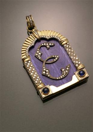Russian Style Silver, Diamond, Blue Sapphire and Ena