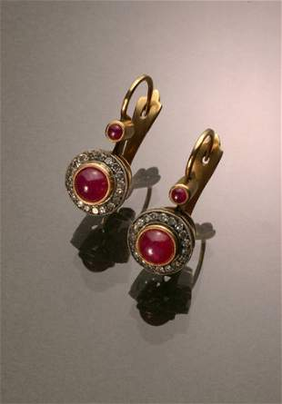 Pair Russian Style 14-Karat Yellow Gold, Silver, Ru