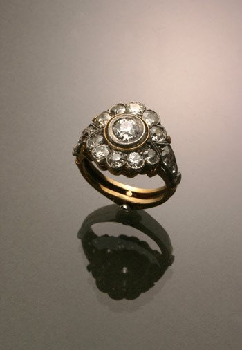 15: Russian Style 14-Karat Yellow Gold, Silver Diamond