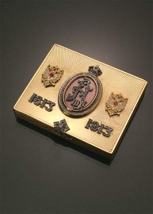 Russian Style 14-Karat Yellow Gold, Diamond, Ruby a