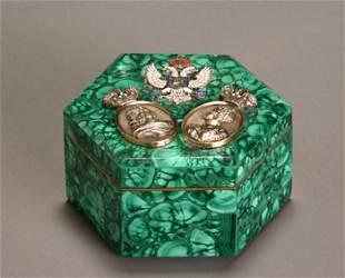 Russian Style Malachite, Gold, Silver, Diamond and