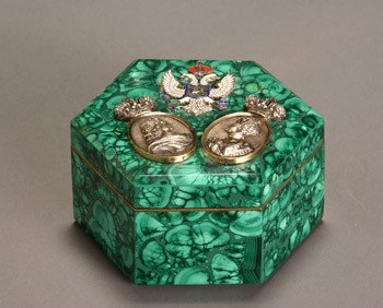 18: Russian Style Malachite, Gold, Silver, Diamond and