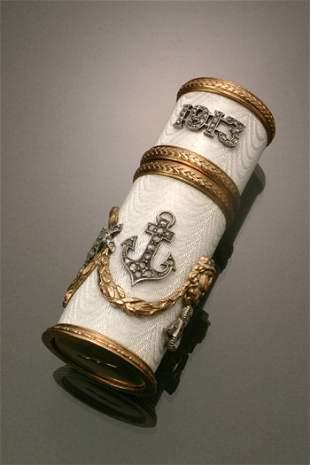 Russian Style 14-Karat Yellow Gold, Silver, Diamond