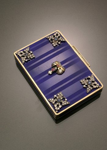 21: Russian Style Silver, Diamond, Ruby, Blue Sapphire