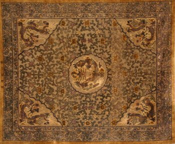 1001: Imperial Chinese Gilt Metallic Thread Embroidered