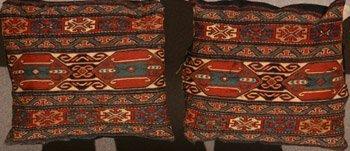 1005: Pair of Sumac Bagface Pillows Early 20th Century