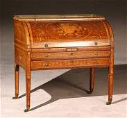 1381: George III Style Satinwood Marquetry Inlaid and C