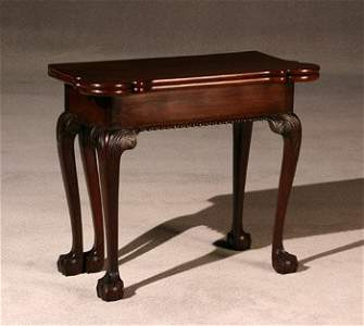 1558: Chippendale Mahogany Fold-Top Card Table