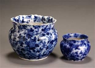 Two Flow Blue Jardinières