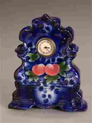 Flow Blue and Polychrome Decorated Mantel Clock