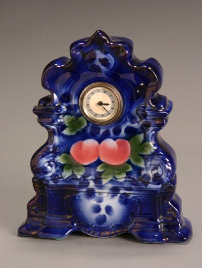 5: Flow Blue and Polychrome Decorated Mantel Clock