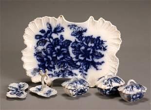 Flow Blue 'Azalia' Six-Piece Vanity Set Probably by