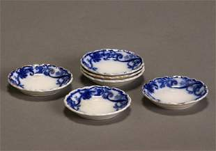 Set of Six Gilt Decorated Flow Blue Scalloped Edge