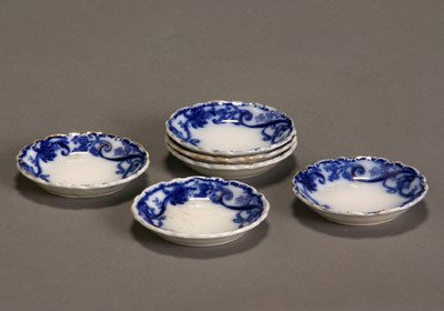 10: Set of Six Gilt Decorated Flow Blue Scalloped Edge