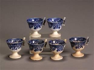 Set of Six Flow Blue Punch Cups