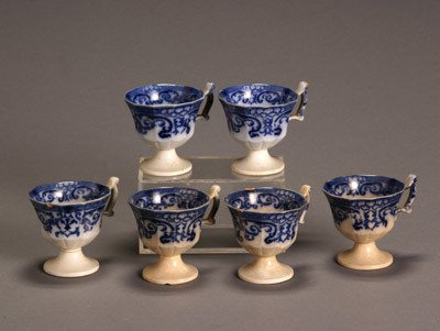 11: Set of Six Flow Blue Punch Cups