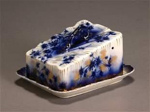 Flow Blue 'Devon' Cheese Dish Probably by Brownfiel