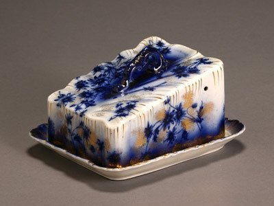 17: Flow Blue 'Devon' Cheese Dish Probably by Brownfiel