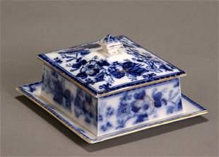 Flow Blue Gilt Decorated Covered Sardine Dish