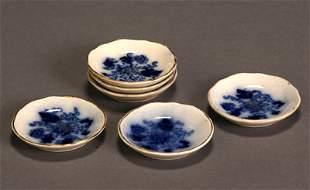 Set of Six Flow Blue Butter Pats