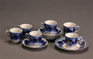 Set of Six Johnson Bros. Flow Blue 'Normandy' Demit