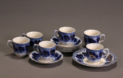 22: Set of Six Johnson Bros. Flow Blue 'Normandy' Demit