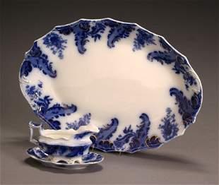 W. H. Grindley Flow Blue 'Argyle' Platter and a Gra