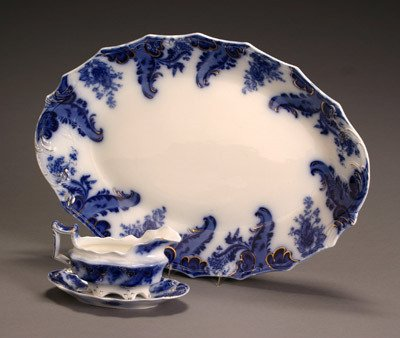 23: W. H. Grindley Flow Blue 'Argyle' Platter and a Gra