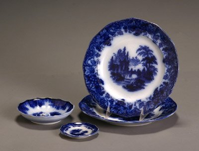 45: Two Flow Blue Jacob Furnival & Co. 'Gothic' Dinner