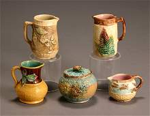 197: Group of Four English Majolica Cream Jugs and a Co