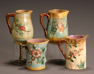 198: Group of Four English Majolica Pitchers