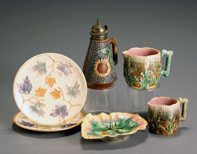 Group of Six Etruscan Majolica Table Articles