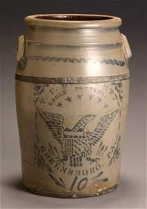 204: American Cobalt Decorated Salt Glazed Ten-Gallon S