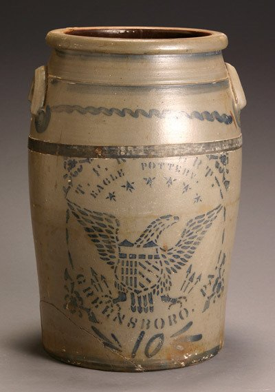 204: American Cobalt Decorated Salt Glazed Ten-Gallon S