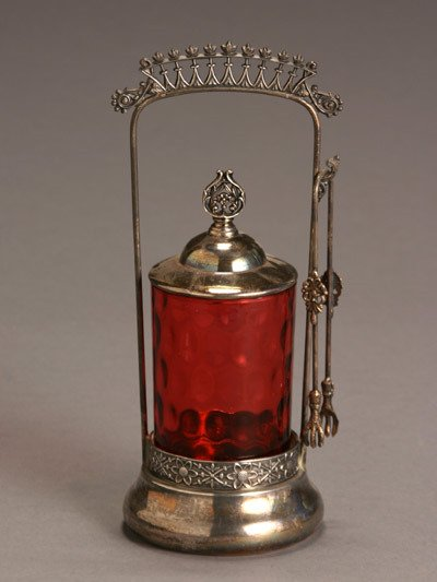 208: Victorian Silver Plate and Cranberry Glass Pickle