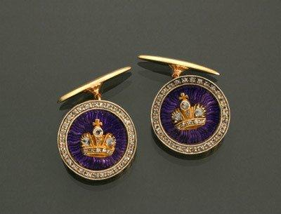 1001: Pair Russian Style 14-Karat Yellow-Gold, Silver,