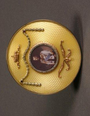 1016: Russian Style 14-Karat Yellow-Gold, Silver, Diamo