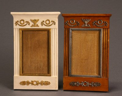 1021: Two Russian Style Fruitwood and Ivory, Silver and